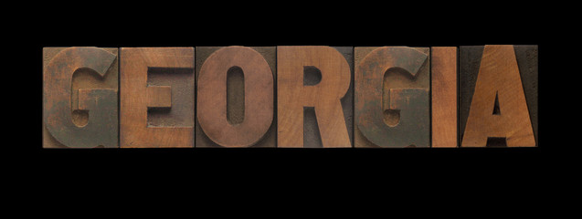the word Georgia in old letterpress wood type