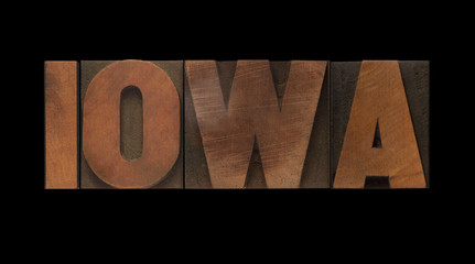 the word Iowa in old letterpress wood type