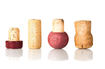 Set of wine corks isolated on white background