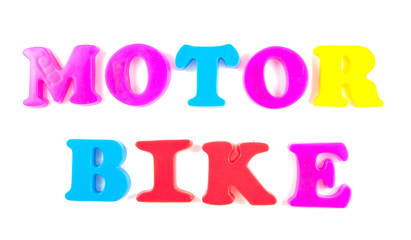 motor bike written in fridge magnets