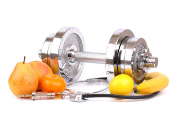 dumbbell, fruits and doctor headset