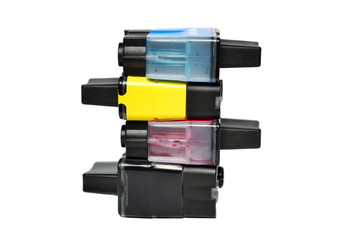 Ink cartridges isolated on white
