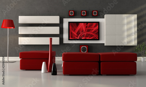 modern lounge with flat screen tv - 28460104