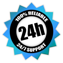 "Star-shaped Sticker ""24/7 Support - 100% Reliable"""