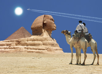 Symbol Egypt's - pyramid, Sphinx, camel, sand and sun