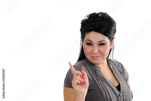 Happy hispanic woman pointing