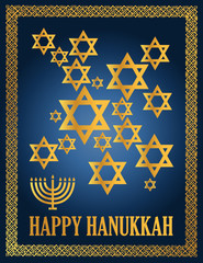 Detail illustration of a blue and gold happy hanukkah card.