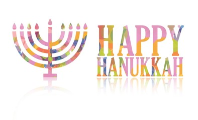 Colorful happy hanukkah isolated over a white background.