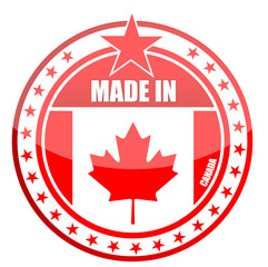 made in canada stamp isolated over a white background.