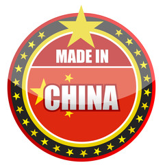 made in China stamp isolated over a white background.
