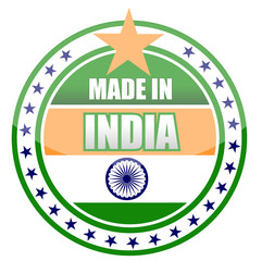 made in india stamp isolated over a white background.