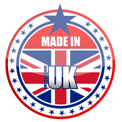 made in uk stamp isolated over a white background.