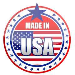 made in USA stamp isolated over a white background.