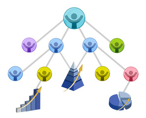 Teamwork success graph isolated over a white background