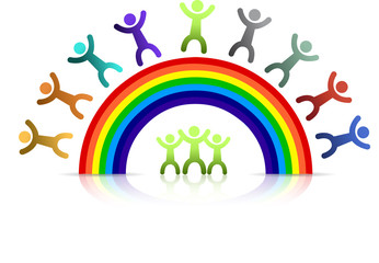 Diversity rainbow kids isolated over a white background