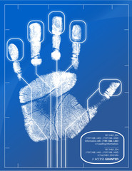 Hand being scanned before access is granted.