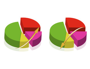 Colorful Pie charts templates isolated over a white background.