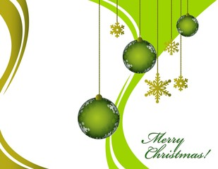 Christmas greeting card with decorative red and green ornaments