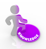 Person Stepping Onto Knowledge Button poster