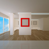 Penthouse interior with red board poster