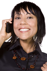 Asian - Hispanic Businesswoman Talking on the Cell Phone