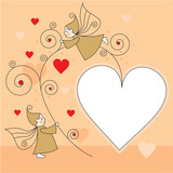 greeting card with elves and hearts poster