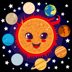 Cute happy Sun with planet friends circling him