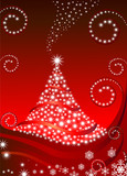 Tree red star background