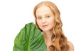 woman with green leaf