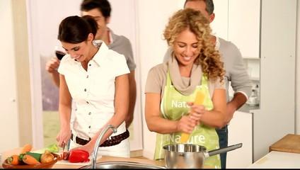 Friends preparing dinner
