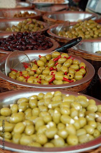Olive display on market stall