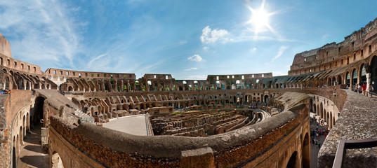 Wide panorama of the Colosseum (Coliseum) in Rome