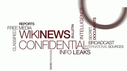 Wiki news confidential information tag cloud text animation