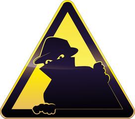 Yellow burglary Warning Sign