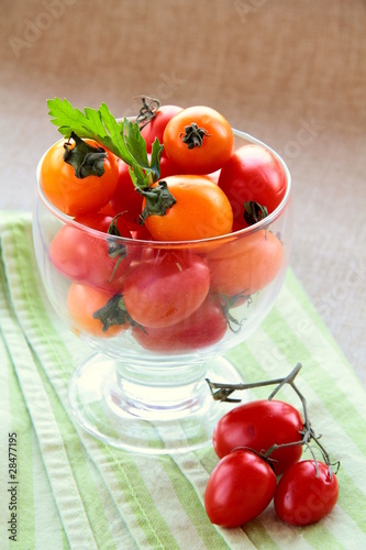 Fresh tomatoes cherry  in a beautiful glass