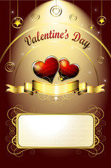 Valentine's day card, illustration with hearts of love