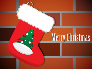 Vector illustration of Christmas Stocking on a brick wall