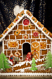Delicate Gingerbread House with fairytale marzipan Figures poster