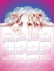 Vector calendar design 2011 on colour background.