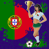 Vector soccerl poster with girl and flag of Portugal