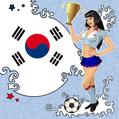 Vector soccer poster with girl and flag of South Korea