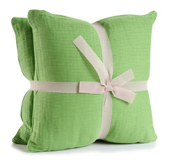 Green cushion. Isolated