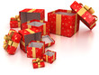 open red gift boxes