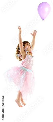 Young girl celebrates in studio