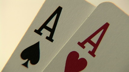 Pocket aces in a deck of playing cards