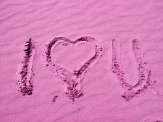 I Love You Written in Pink Sand