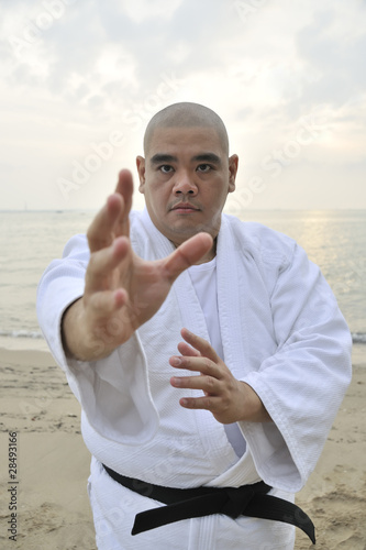 A black belt martial artist in a fighting stance