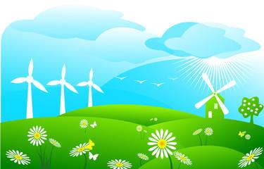 éoliennes et paysage de campagne
