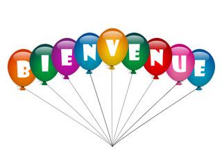 """""""BIENVENUE"""" (ballons de baudruche message d'accueil page site)"""