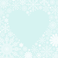 雪の結晶とハートの背景